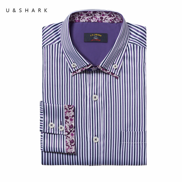 Colarinho da Camisa Ocasional Buttondown Homens Blusa Slim Fit Listrado  Roxo U   Shark Moda Masculina 55390e94afd