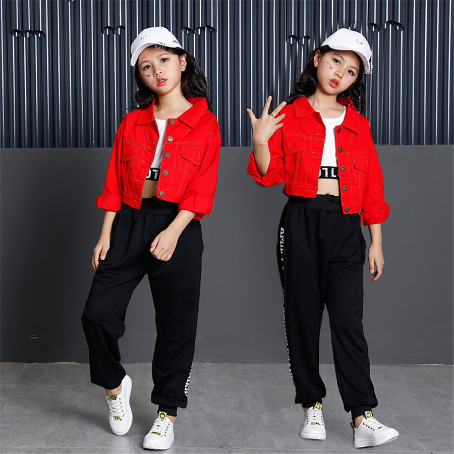 Teenage Girls Clothing Set 2019Cotton Red Crop Jacket Top Pant Three Pieces Sets For Kids 8 9 10 11 12 13 14 15 16 Years Old
