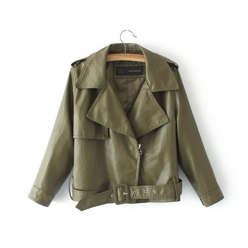 Womens Slim Fashion Belt   Leather   Jacket 2019 Autumn New Females Streetwear Locomotive Harajuku Jackets Casal Coats