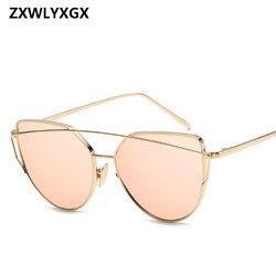 Gafas de sol de metal 2019 para mujer de lujo de ojo de gato de marca de diseño espejo Rosa nuevo oro Vintage gafas de sol de moda para mujer gafas de sol