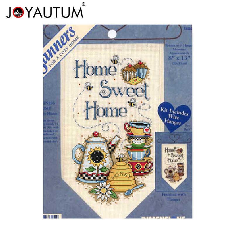 Doce casa pequena bandeira diy contado kits de ponto cruz 14ct copos de chá mel desenhos animados cozinha sala decoração conjuntos para bordado