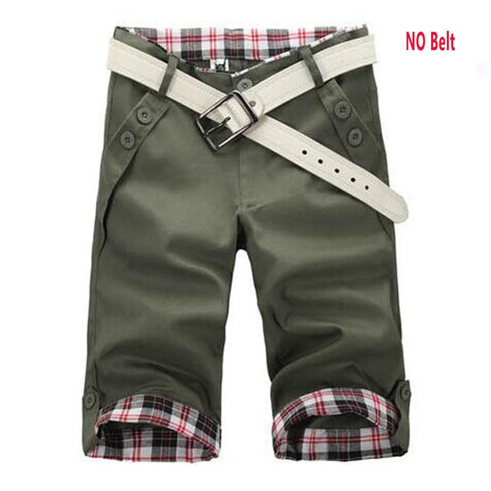 GZHOUSE Summer Mens   Shorts   Knee Length Casual Baggy   Shorts   Plaid Pockets Cargo   Short   Pants Checks Trousers Male Green