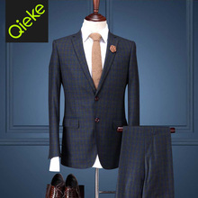 Brand Clothing2017men formal wedding suits 100%Wool Green Plaid slim fit men tuxedo business men dress suits prom coat/vest/pant