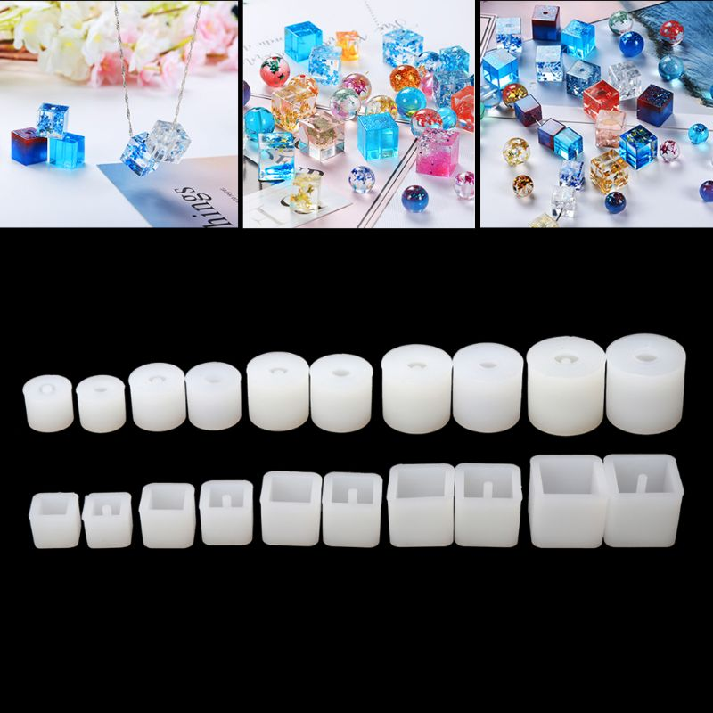 Silicone DIY Round Square Beads DIY Mold Jewelry Making Resin Casting Mold Pendant Earring Making Tool