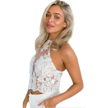 Elegant white lace crop top Summer beach backless short halter tops 2017 fashion sexy white party  women tank top 6