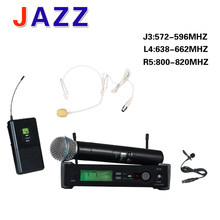 High-quality UHF PRO Wireless Microphone System + Handheld + Lapel + headset Mic SLX124BETA58A for Stage Karaoke DJ(China)