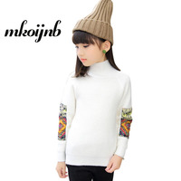 2018 Kids Girls Solid Sweaters For teens Clothing Warm Sweaters Cute Children Turtleneck Knitwear Girls Tops 4 6 8 10 12 Years