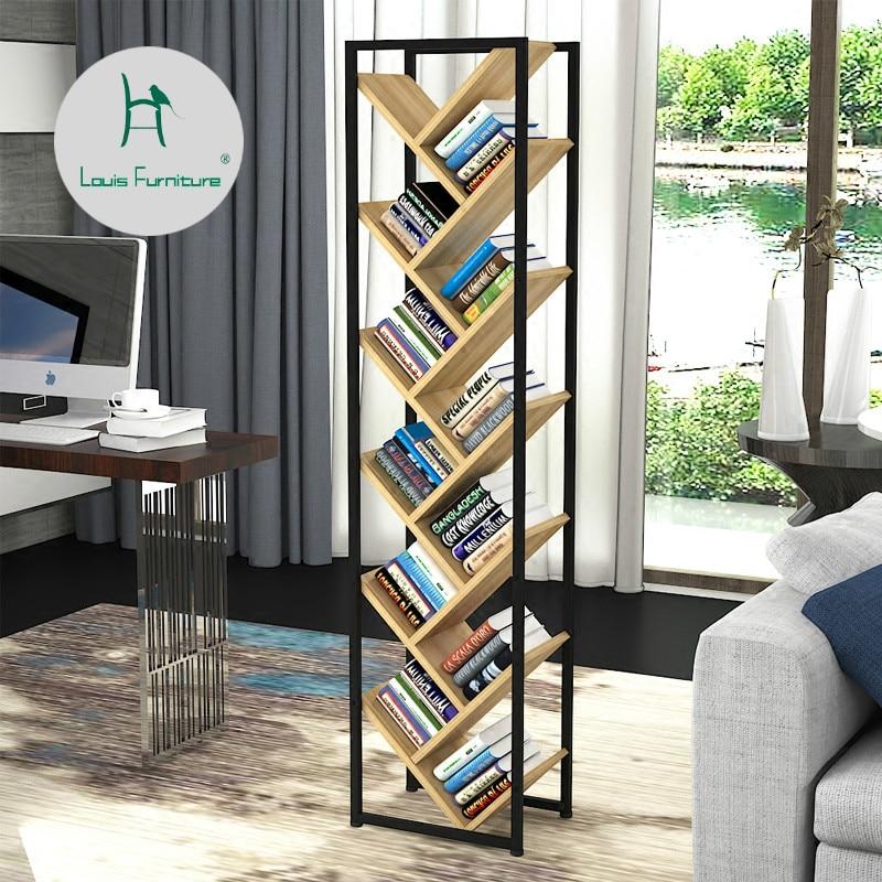Louis Fashion Bookcases Simple Iron Tree Bookshelf Saving Space