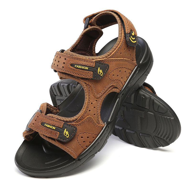 GOMNEAR New Summer Men Genuine Leather Sandals Cool Light Weight Hook and Loop Sandals Brand Antiskid Wear-resistant Shoes