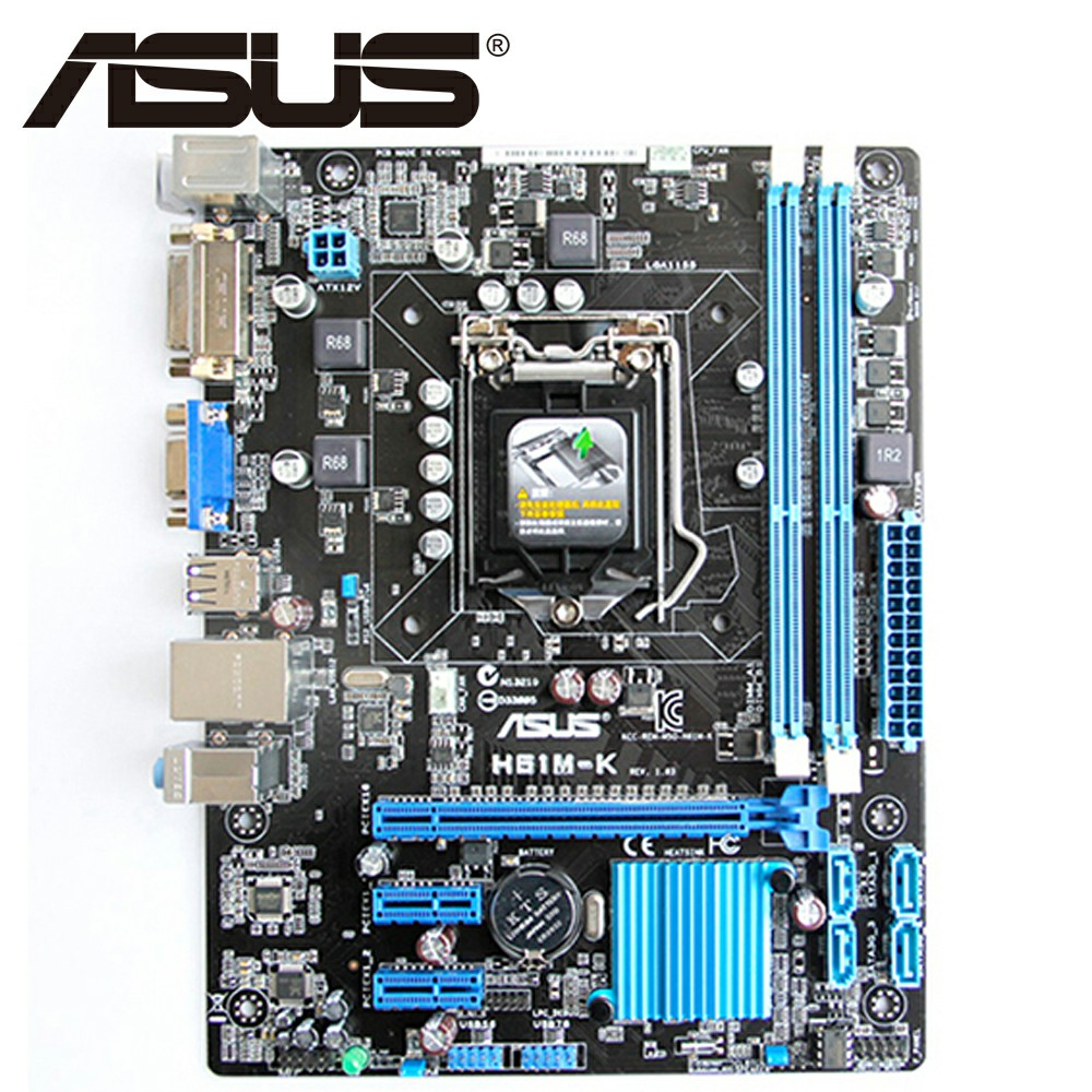 Asus H61M-K Desktop Motherboard H61 Socket LGA 1155 i3 i5 i7 DDR3 16G Micro-ATX UEFI BIOS Original Used Mainboard On Sale asus p8b75 m lx desktop motherboard b75 socket lga 1155 i3 i5 i7 ddr3 16g uatx uefi bios original used mainboard on sale