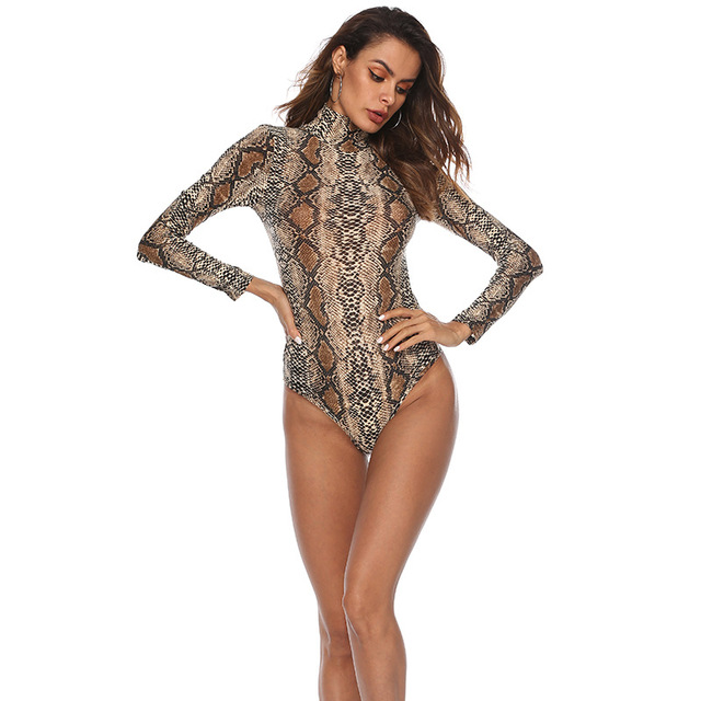 EIFER Leopard Bodysuit for Women Sexy Bodycon Skinny Body Suit Turtleneck Long Sleeve Playsuit Printed Romper Jumpsuits 1