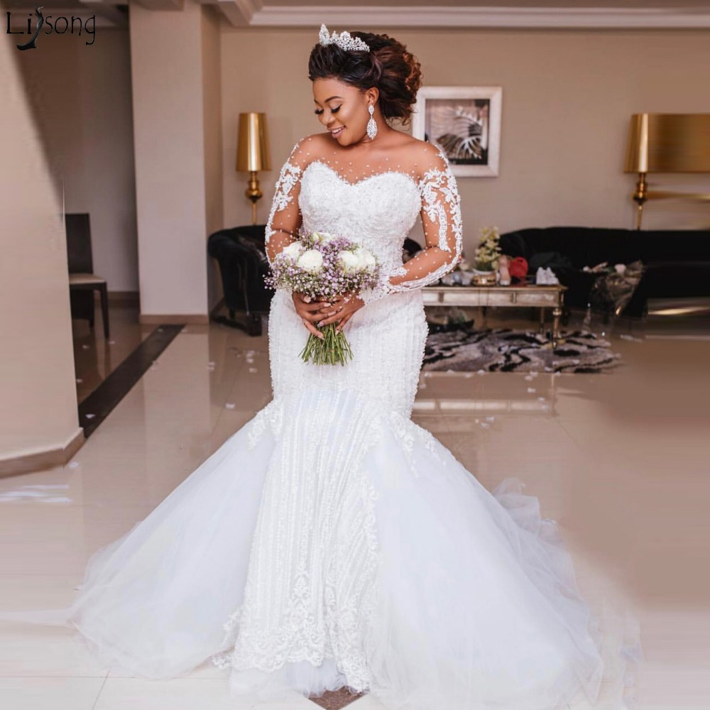 Elegant Heavy Beading Mermaid Wedding Dress Long Sleeve Appliques Pearls African Wedding Gowns Plus Size Vestido De Noiva 2020