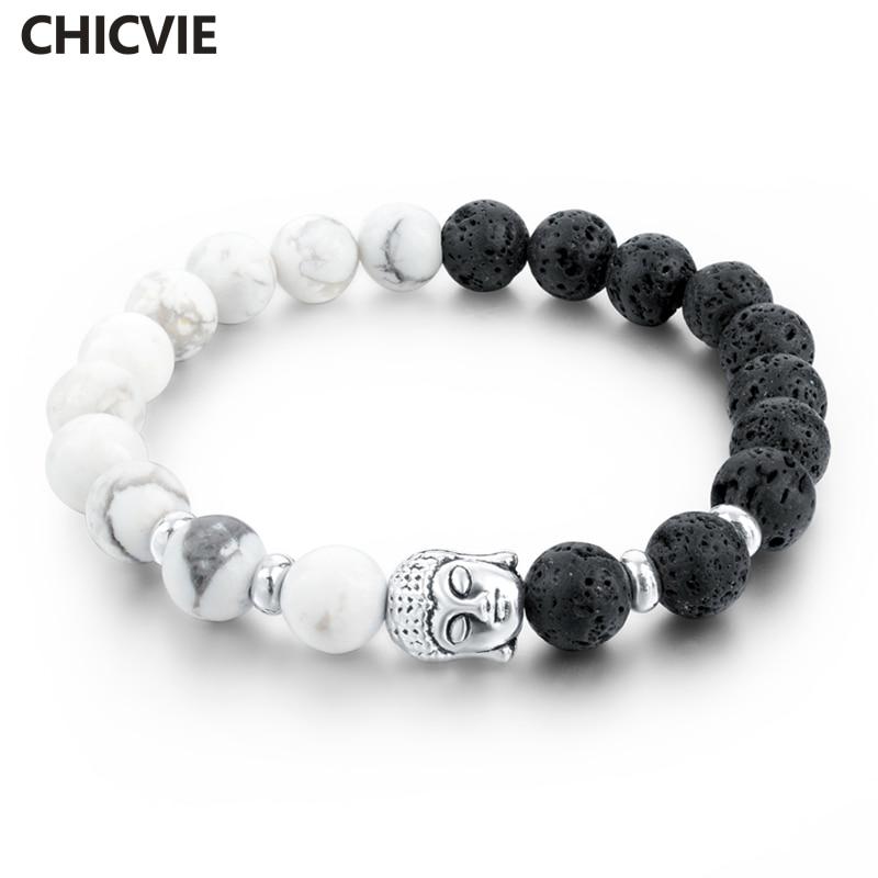 CHICVIE Lava Stone Strand Bracelets & Bangles Natural Bead S