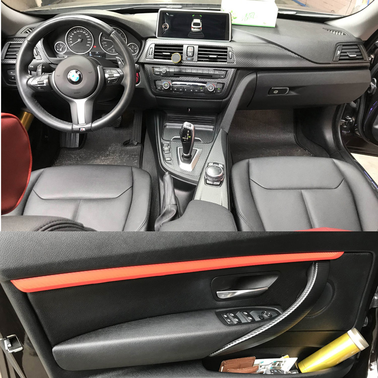 Voiture style fibre de carbone voiture intérieur Console centrale changement de couleur moulage autocollant décalcomanies pour BMW série 3 F30 F31 F32 2013-2019 - 3