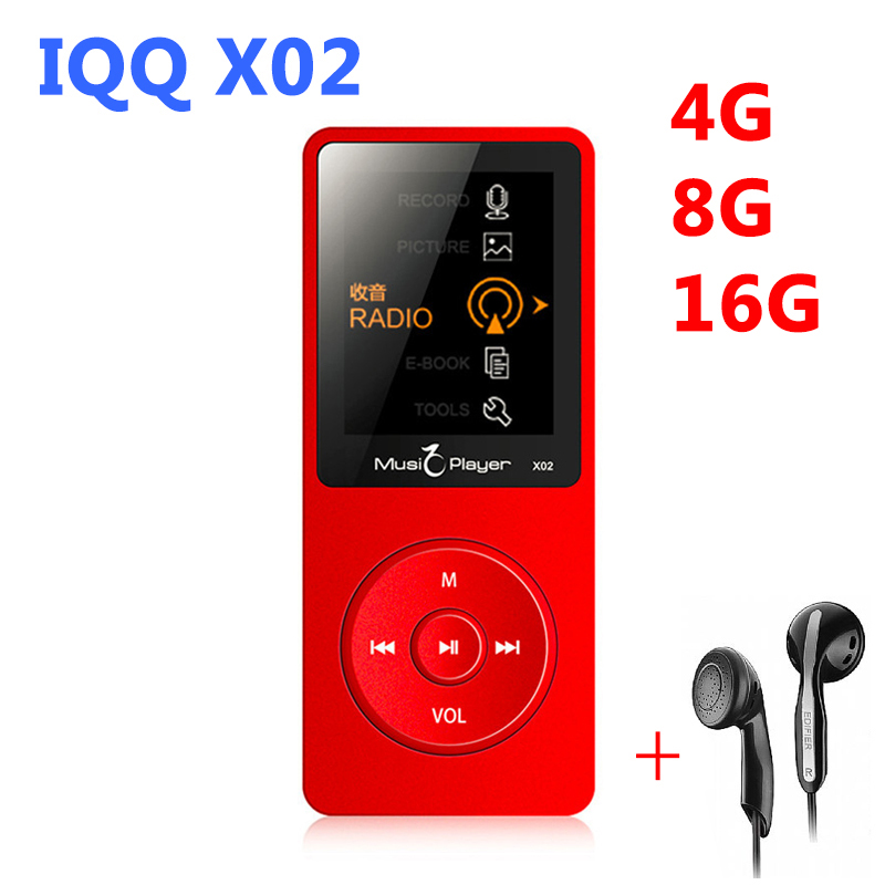Mini MP3 Player 16GB with Built-in Speaker reproductor mp3 16 gb hifi speaker IQQ X02 USB MP3 HIFI player mp-3 walkman ruizu x02 t050 3w mini portable retractable stereo speaker w tf black golden 16gb max
