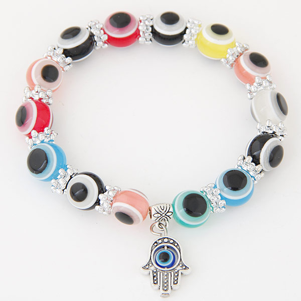 Colorful Turkish Evil Eye jewelry Bracelet silver plated Resin Hamsa Charm Bracelet Bangles For Men Womens pulseira masculina