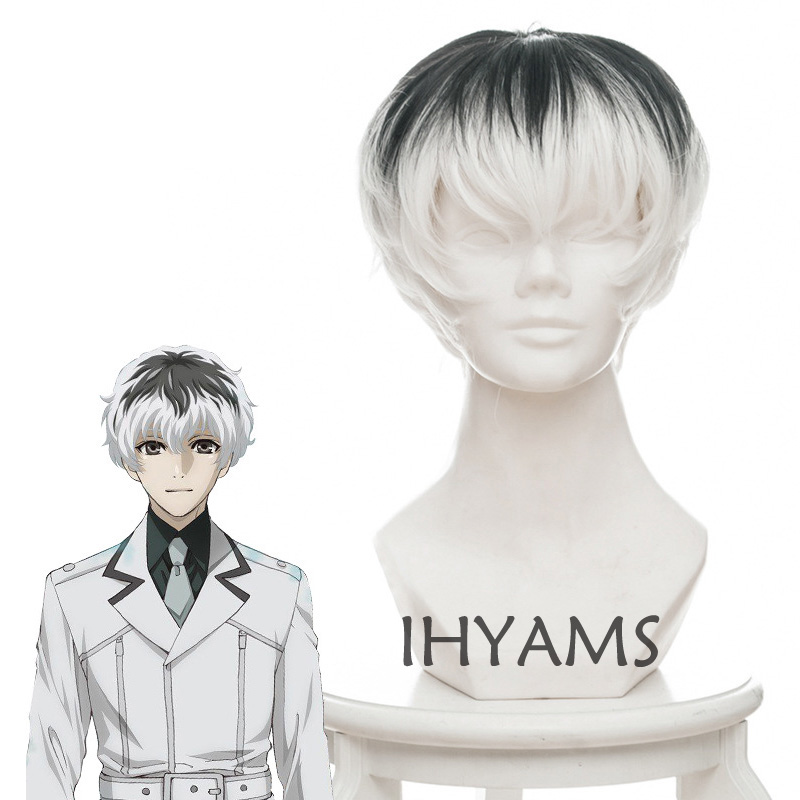 Anime Tokyo Ghoul Re Kaneki Ken Sasaki Haise Black White Mix Short Synthetic Hair Cosplay Costume Wigs + Wig Cap