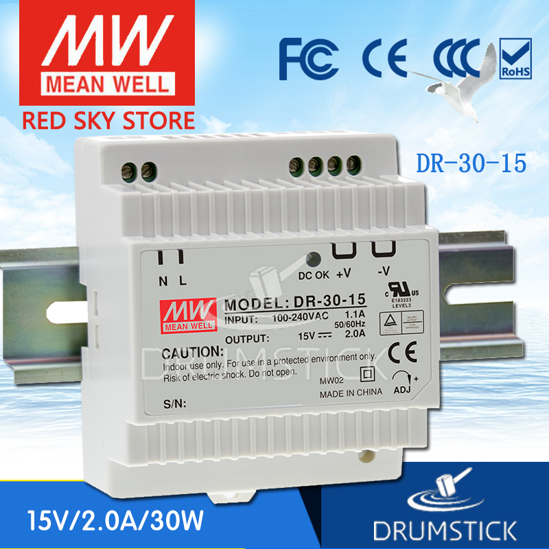 Selling Hot MEAN WELL DR-30-15 15V 2A meanwell DR-30 15V 30W Single Output Industrial DIN Rail Power Supply best selling mean well se 200 15 15v 14a meanwell se 200 15v 210w single output switching power supply