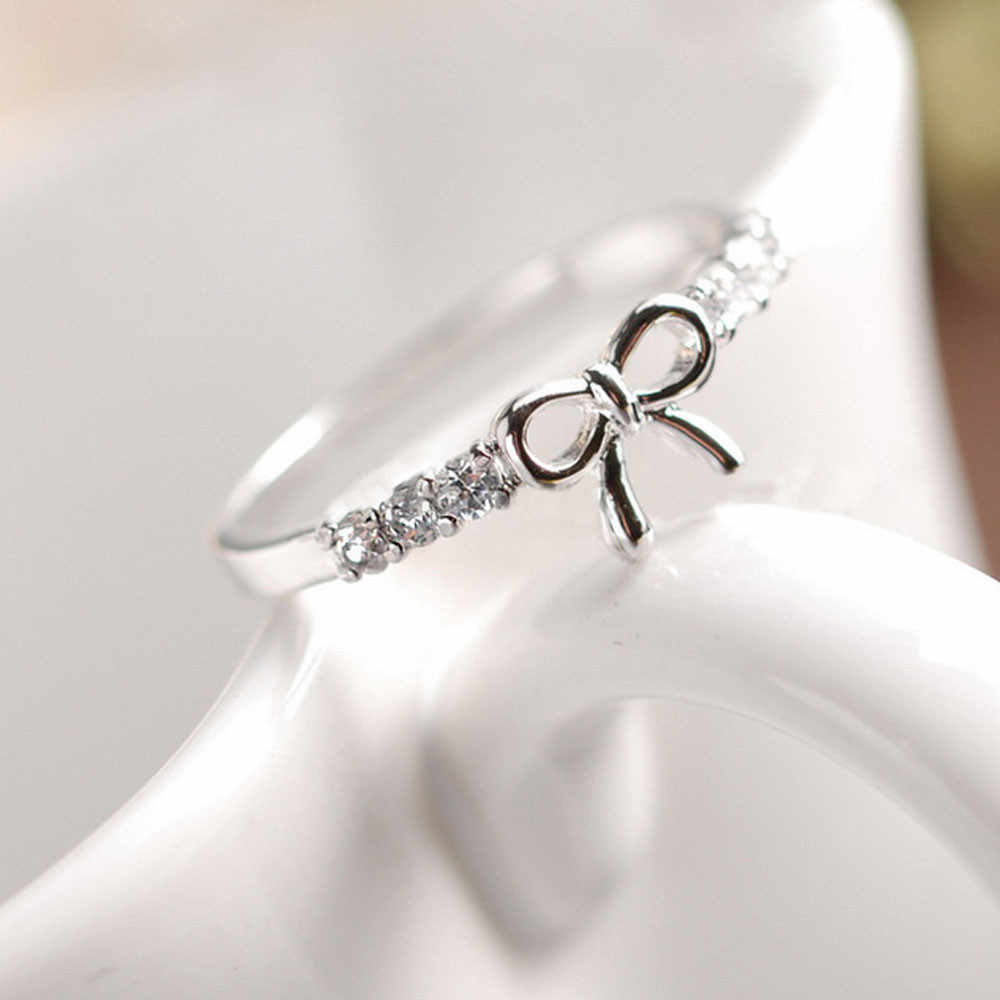 Fashion Charms Fine  Women Korean Jewelry Simple Crystal Bow Rings For Girls M#10