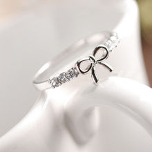 Fashion Charms Fine Women Korean Jewelry Simple Crystal Bow Rings For Girls M#10(China)