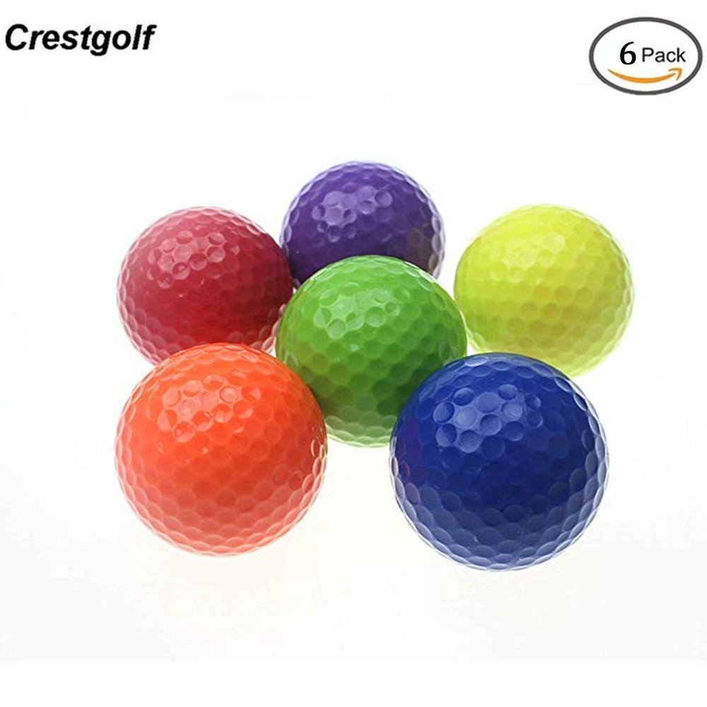 CRESTGOLF 6pcs/pack Colorful Mini Golf Balls Two Piece Golf Practice Balls Training Golf Pelotas