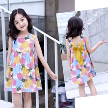 Girl Clothing leaves Print braces Dress New 2019 Summer Childrens Cotton Girls Dresses For 2-12Y TTX333