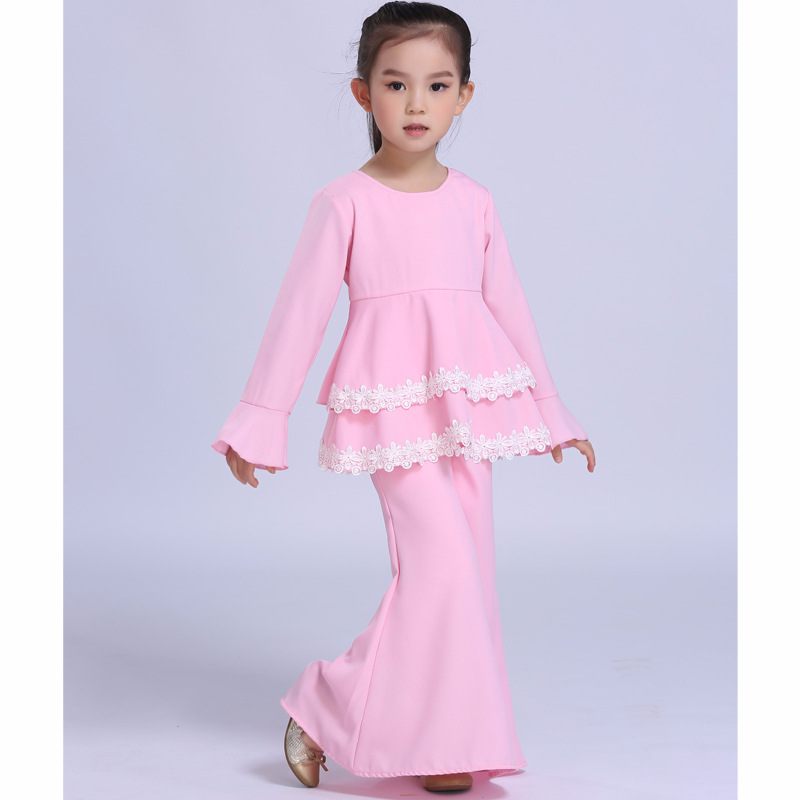 Muslim Abaya Islamic Children Dress Children Girl Princess Lace Dress 2018 Malaysia Kids New Year Blue/Pink Dress brenner muslim identity
