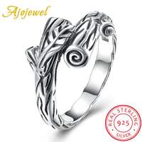 Ajojewel Vintage Branches Guarantee 925 Solid Sterling Silver Ring Women High Quality Antique Ring Bijoux