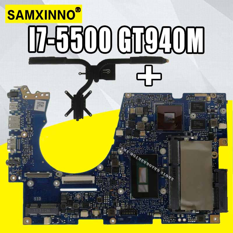 Send Heatsink For Asus Ux303u Ux303ub U303u Laptop Motherboard  Mainboard I7-5500 GT940M  4Gb RAM  100% Work Ok
