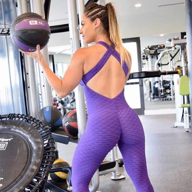 2018 Новый женский спортивный набор комбинезон фитнес цельный спортивный  костюм Тренировки Холтер спинки тренажерный зал комплект 07a9a39b5d8