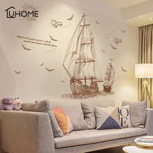 DIY Sailboat Voyage Seabirds Landscape Large Wall Stickers Home Decor Living Room Bedroom Decal Removable Wallpaper Art 120x89cm