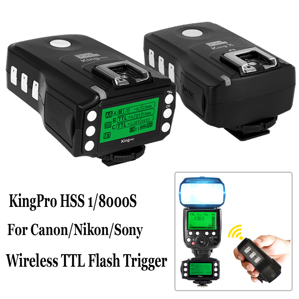 INSEESI 2.4G 1/8000S Wireless TTL HSS LED Screen Display Flash Trigger Kit Transmitter and Receivers King Pro For Canon Nikon wansen pt 04gy universal 1 to 3 3 receivers wireless flash trigger for nikon canon black