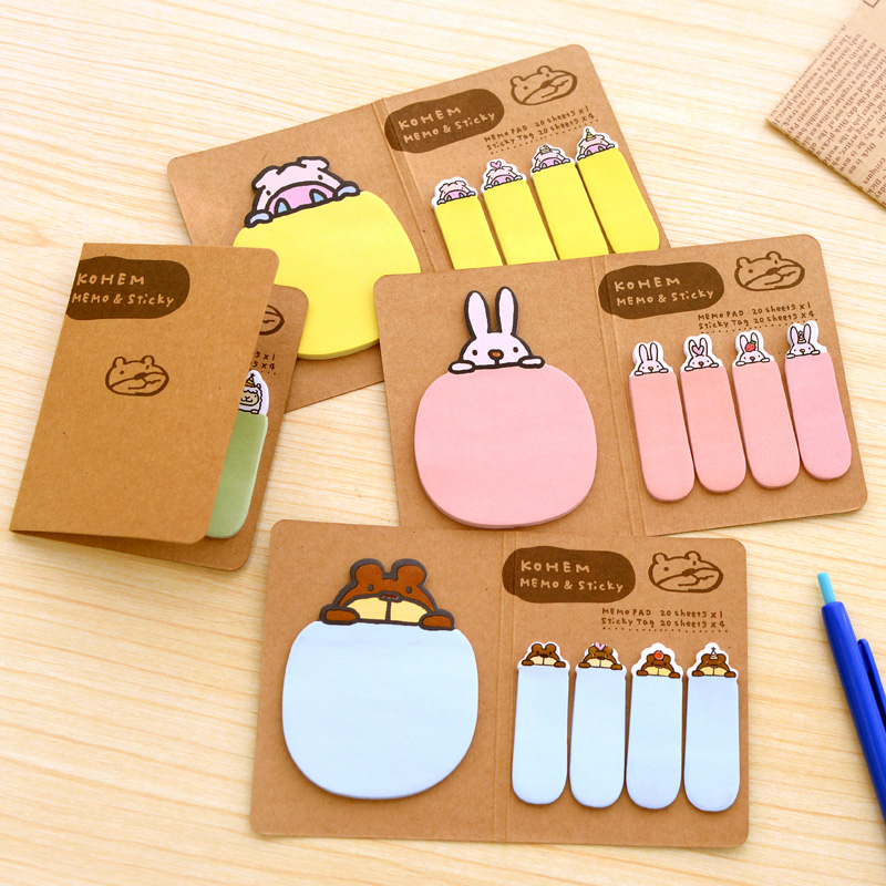 1 PCS Cute Animal Memo Pads Sticky Notes Post It Notes Scrapbooking Diary Planner Stickers Office Stationery School Supplies diy korean cute creative office novelty post sticky notes it planner stickers page index office school supplies stationery