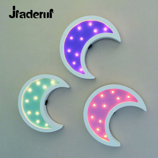 Jiaderui Wooden Moon Led Night Light for Kid's Toy Gift Wall Lamp Bedside Bed Room Living Room Home Decorative Indoor Lighting