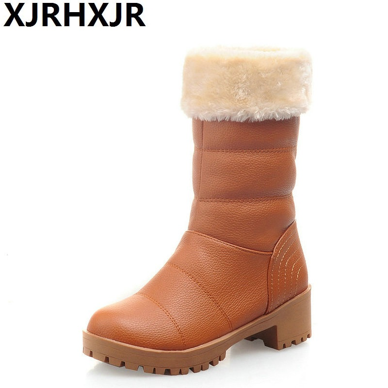 XJRHXJR Black Female Winter Boots Women Thick Fur Snow Boots Round Toe Mid Claf Boots Big Size 34-43 Shoes Beige Red Yellow stylish buckles and fold over design women s mid claf boots