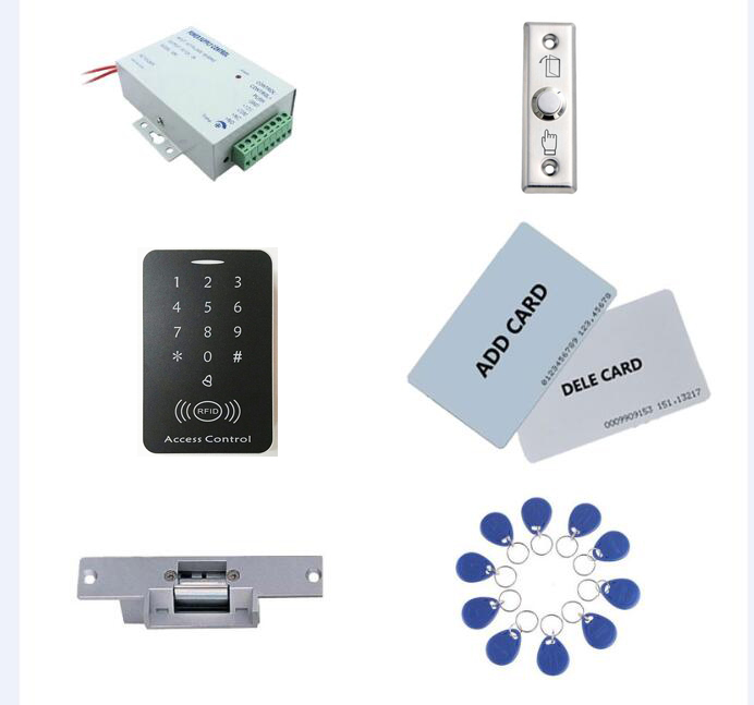 Access control kit,standalone access control+ power+ strike lock +exit button+2pcs manage card, 10 keyfob ID tags,sn:set-1 access control kit standalone access control power inteligent mute lock exit button 2 manage card 10 keyfob id tags sn set 9