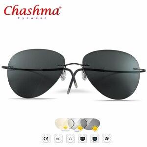 Image 1 - 2019 NEUE Sommer Übergang Sonnenbrille Titan Photochrome Gläser Rahmen männer und frauen Chameleon Brillen