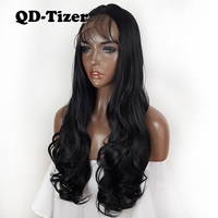 QD Tizer Long Black Wavy Synthetic Lace Front Wig Soft Hair Glueless Baby Hair Lace Front Wigs Natural Hairline For Black Women