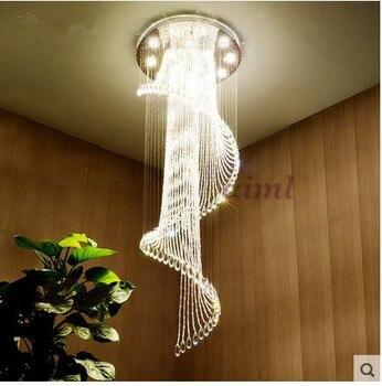 Kích thước: 60*60*260 CM 32 Wát Leds K9 Tinh Thể Droplight Xoắn Ốc Cầu Thang Cầu Thang Dài Đèn Droplight của Contempor Miễn Phí Vận Chuyển