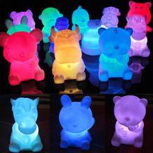 Encantador 12 Zodíaco en forma de Animal niños juguetes de iluminación novedad LED 7 colores cambiantes lámpara de noche niños cumpleaños regalos venta al por mayor