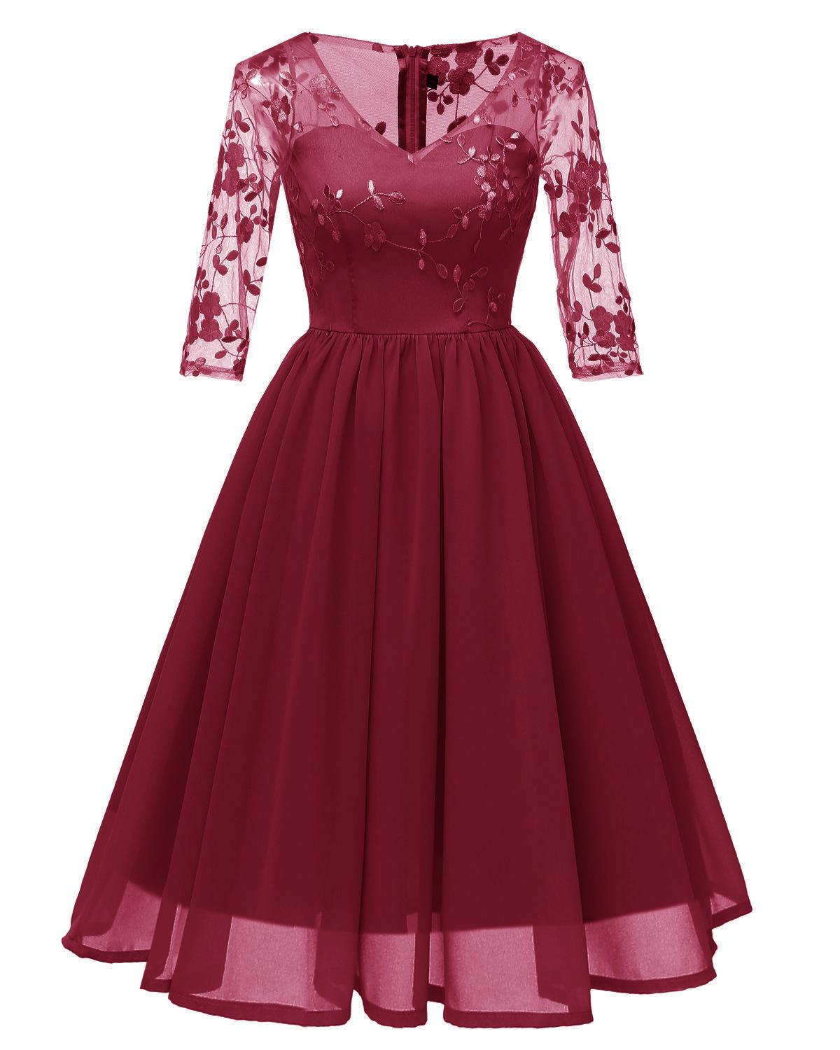 V-neck Long Sleeve Burgundy Embroidery   Cocktail     Dresses   Robe Chiffon Elegant Party 2019 Short Vestidos Homecoming   Dress