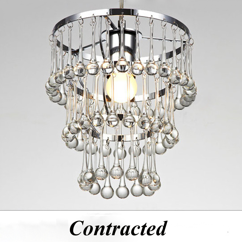 Z Modern Clear Crystal Chandelier Water Rain Drop Design E27 LED Lighting Fixtures Restaurant Living Room Bedroom Indoor Lamp