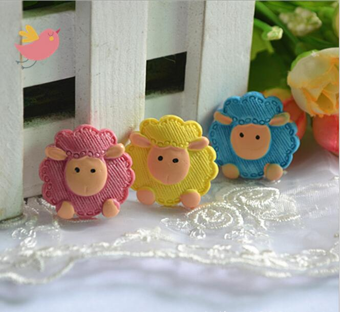 Free Shipping Wholesale Mix 30pc Resin Flat Back  Little Sheep    Convex Circular Hair  And Phone  DIY
