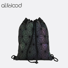 Aliwood Women Small Backpack Drawstring Holographic Female Geometric For Teenage Girls Diamond Sequin Bagpack Rucksack