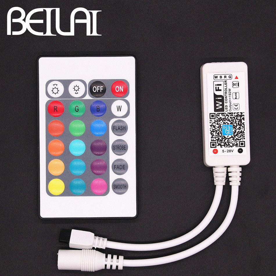 BEILAI DC 12V WIFI RGBW LED Controller For IOS Android With IR 24Key Remote Control For