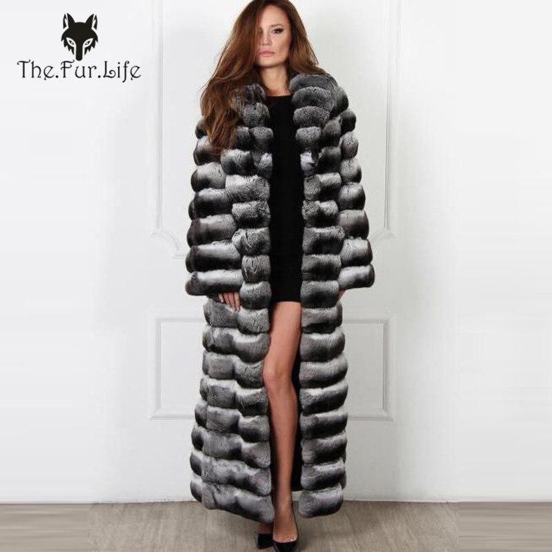 130 cm X-Long Réel Chinchilla fourrure de lapin rex Manteau Pour Femmes Complet Pelt Fourrure manteaux de fourrure Survêtement Chaud Hiver Long Grand col