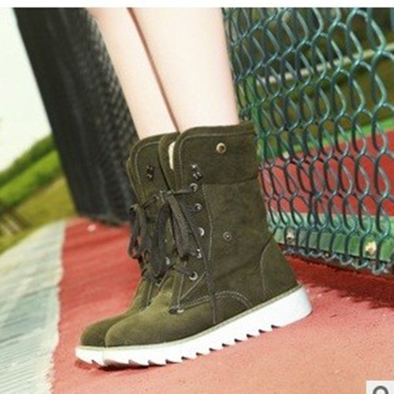 8cd24dd11c09f US $26.97 13% OFF|Lady sexy big size 9 10 11 12 patent leather Lace up  velvet Winter Hand made Ankle platform heels boot Snow boots women shoes-in  ...