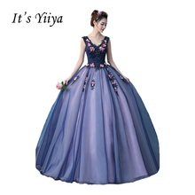 It's Yiiya Purple V-neck Wedding Dresses Ball Gown Appliques Floor Length Color Bridal Frocks Vestidos De Novia Casamento HL015