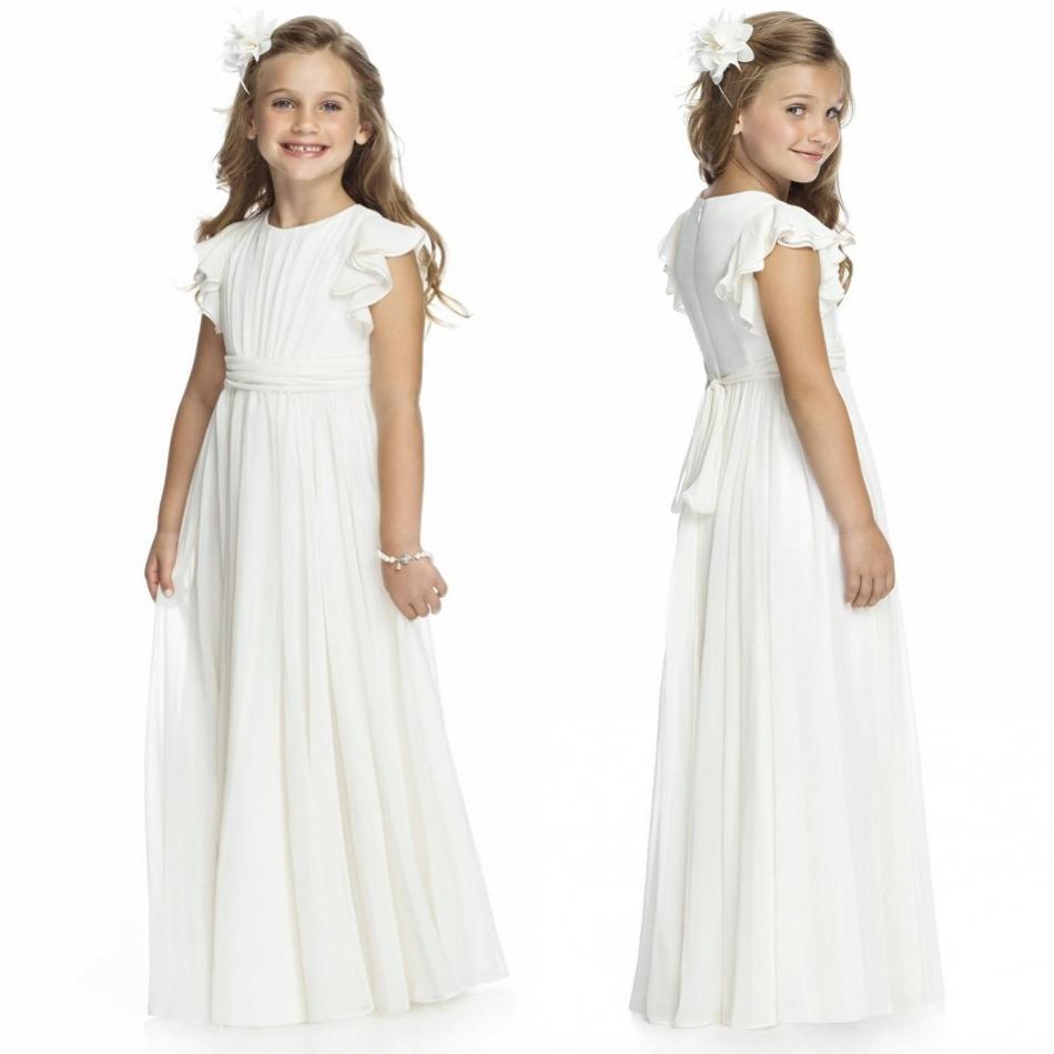 Ivory Chiffon Long Floor Length Flower Girls Dresses 2017 A Line Custom Cheap First Communion Gowns Free Shipping