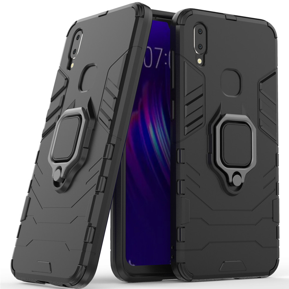 For Vivo V11i Case Cover Silicone Tpu And Hard Pc Ultra Luxury Armor Metal Ring Holder Case For Vivo V11i in Fitted Cases from Cellphones Telecommunications